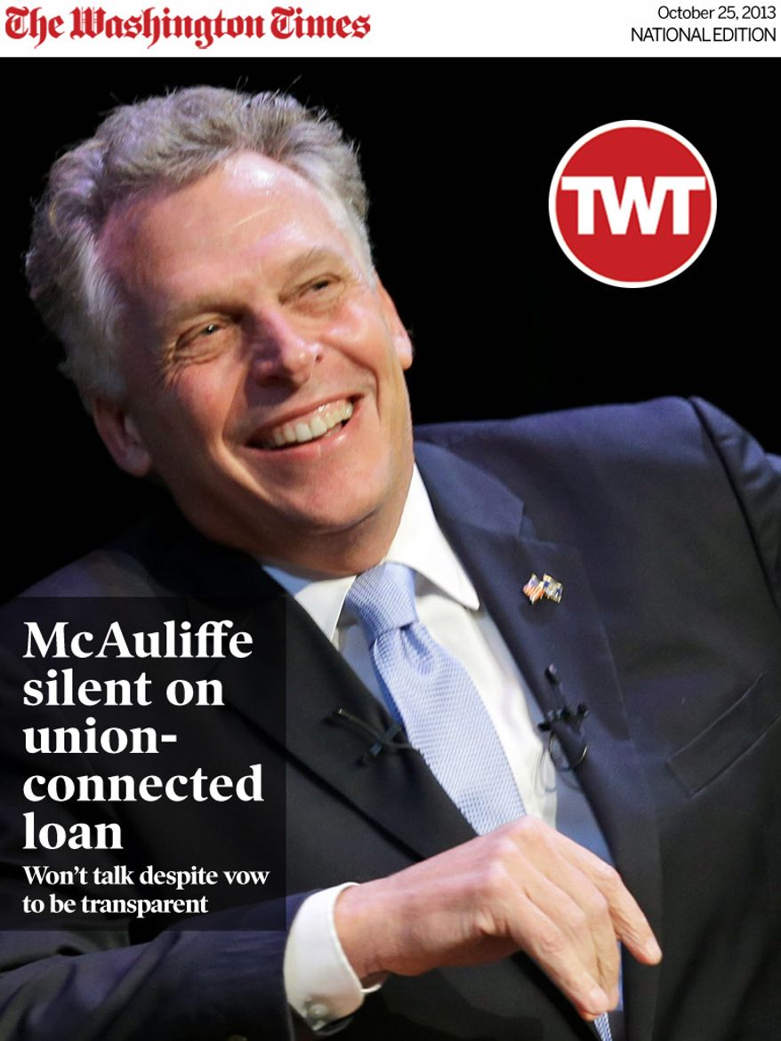 National Edition News Cover for October 25, 2013 - The campaign of businessman and former Democratic National Committee Chairman Terry McAuliffe claims it has collected more than 21,000 signatures on an online petition against a purge up to 57,000 registered voters from the Virginia rolls. (Associated Press)