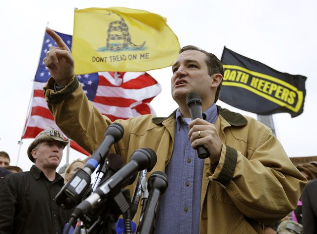 FILE - In this Oct. 13, 2013, file photo, Sen. Ted Cruz, R-Texas, speaks at a rally in front of the WWII Memorial in Washington. Cruz took nothing short of a victory lap in his state of Texas this week, appearing before crowds that overlooked the fact that the Republican who led the charge to kill money for President Barack Obama's health care law had failed. Now he's coming to Iowa, where Republicans have the first say in the presidential race, and will view him much more skeptically. (AP Photo/Alex Brandon, File)