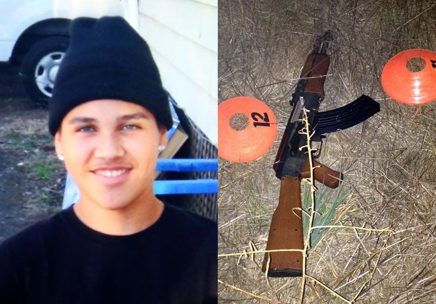This combination of photos provided by the family via The Press Democrat and the Sonoma County Sheriff's Department shows an undated photo of 13-year-old Andy Lopez and the replica assault rifle he was holding when he was shot and killed by two Sonoma County deputies in Santa Rosa, Calif. on Tuesday, Oct. 22, 2013. (AP Photo/Family via The Press Democrat, Sonoma County Sheriff's Department)