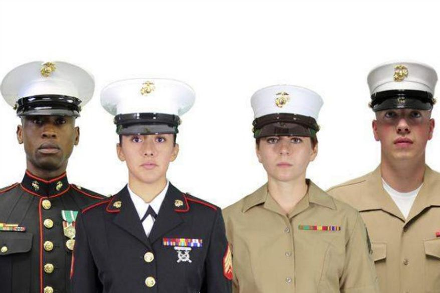 Current Marine Corps hats on the left. The proposed covers are on the right. (credit: NY Post)