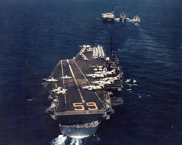 The USS Forrestal prepares to refuel in the Mediterranean Sea in April 1957. (U.S. Navy/Naval History & Heritage Command/National Archives)
