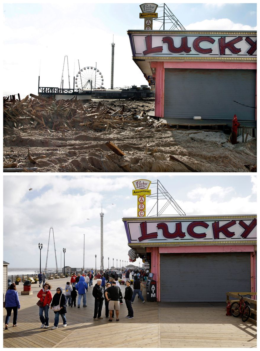 This combination of Thursday, Nov. 22, 2012 and Sunday, Oct. 13, 2013 photos shows debris left by Superstorm Sandy where the boardwalk had been in front of Lucky Leo's arcade in Seaside Heights, N.J. and people walking at the rebuilt area nearly a year later. (AP Photo/Mel Evans)