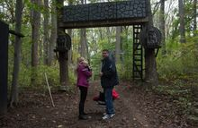 """Allen Bennett, owner of the Creepywoods Haunted Woods and Bennett's Curse Haunted Houses, with his wife, Jill, and son Allen Jr., says """"People show up to be frightened. They come out and have fun and get lost in the story. It's fun to see people get scared."""" (Andrew S. Geraci/The Washington Times)"""