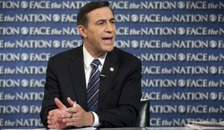 "In this photo released by CBS News Rep. Darrell Issa, R-Calif., the Chairman of the House Oversight and Government Reform Committee, speaks on CBS's ""Face the Nation"" in Washington Sunday, Oct. 27, 2013. Talking about the health care overhaul Issa said Sunday said that the president had been poorly served by Health and Human Services Secretary Kathleen Sebelius ""in the implementation of his own signature legislature. So if somebody doesn't leave and if there isn't a real restructuring, not just a 60-day somebody come in and try to fix it, then he's missing the point of management 101, which is these people are to serve him well, and they haven't."" (AP Photo/CBS News, Chris Usher)"