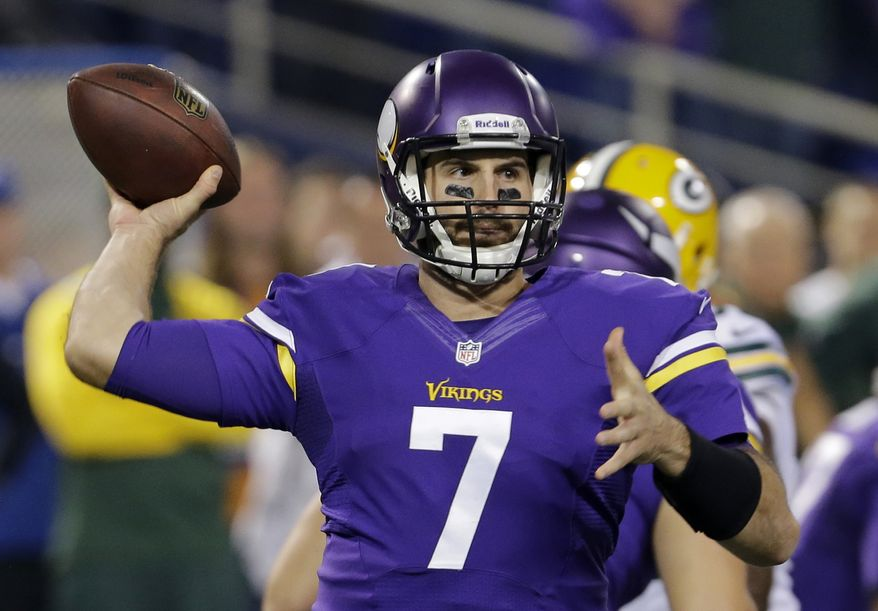 Minnesota Vikings quarterback Christian Ponder (7) throws a pass in the first half of an NFL football game against the Green Bay Packers, Sunday, Oct. 27, 2013, in Minneapolis. (AP Photo/Ann Heisenfelt)