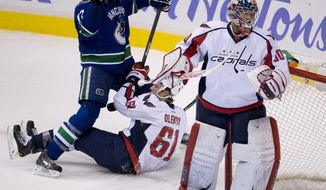 Vancouver Canucks center Ryan Kesler (17) gets caught up on Washington Capitals defenceman Steve Oleksy (61) as Washington Capitals goalie Michal Neuvirth (30) looks on during the second period of NHL hockey action in Vancouver, British Columbia on Monday, Oct. 28, 2013. (AP Photo/The Canadian Press, Jonathan Hayward)