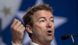 ** FILE ** Sen. Rand Paul, Kentucky Republican, speaks at the Values Voter Summit, sponsored by the Family Research Council, in Washington on Friday, Oct. 11, 2013. (AP Photo/Jose Luis Magana)