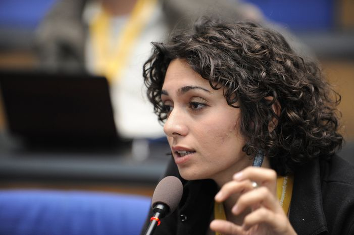 ** FILE ** In this Monday, July 18, 2011, file photo provided by German public radio Deutsche Welle, Iranian actress and blogger Pegah Ahangarani speaks during an event of Deutsche Welle on June 3, 2009, in Bonn, Germany. The 24-year-old Iranian actress known for her political activism in support of the country's reformists has been sentenced to 18 months in prison after facing security charges, newspapers reported Tuesday, Oct. 29, 2013. (AP Photo/Deutsche Welle, Per Henriksen, File)