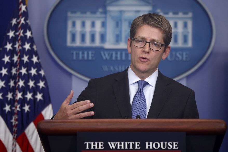 White House press secretary Jay Carney gives the daily press briefing in the Brady Press Briefing Room of the White House in Washington on Tuesday, Oct. 29, 2013. (AP Photo/Charles Dharapak)