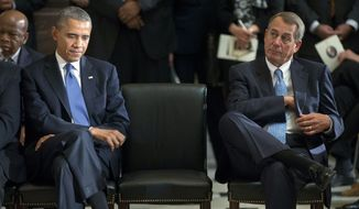 President Barack Obama sits with House Speaker John Boehner of Ohio during memorial service for former House Speaker Tom S. Foley, Tuesday, Oct. 29, 2013, in Statuary Hall on Capitol Hill in Washington. Foley was a 30-year veteran of the House who died last week at the age of 84. (AP Photo/Pablo Martinez Monsivais)
