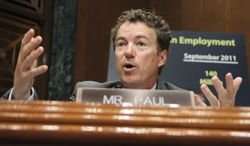 File- This Oct. 18, 2011 file photo shows Senate Small Business and Entrepreneurship Committee member Sen. Rand Paul, R-Ky., questioning Treasury Secretary Timothy Geithner on Capitol Hill in Washington.  In just half a term, the Kentucky Republican has shaken up Congress and in some ways the country with his brand of libertarian populism, filibustering President Barack Obama's CIA director earlier this year and leading the fight against authorizing U.S. military action in Syria. (AP Photo/Manuel Balce Ceneta, File)