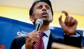 Louisiana Gov. Bobby Jindal, pictured, joins Republican gubernatorial candidate for Virginia governor Ken Cuccinelli at a campaign rally at their Bristow campaign headquarters, Bristow, Va, Tuesday, October 29, 2013. (Andrew Harnik/The Washington Times)