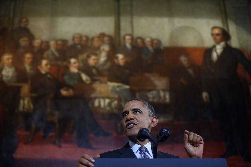 """President Obama defends the Affordable Care Act on Wednesday at Boston's historic Faneuil Hall as doubts rise about his pledge,""""if you like your plan, you can keep it."""" Millions of Americans are starting to lose their health care coverage. (Associated Press)"""