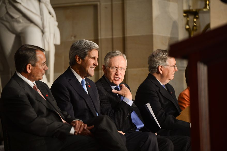 Left to right: House Speaker John Boehner, United States Secretary of State John Kerry, Senate Majority Leader Harry Reid, and Senate Republican Leader Mitch McConnell attend a dedication ceremony for former British Prime Minister Sir Winston Churchill in Statuary Hall of the U.S. Capitol Building, Washington, D.C., Wednesday, October 30, 2013. The bust was authorized and passed by the House of Representatives shortly before the 70th anniversary of Churchill's wartime address to a joint meeting of Congress. (Andrew Harnik/The Washington Times)