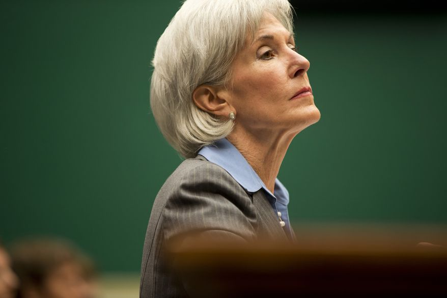 Health and Human Services Secretary Kathleen Sebelius testifies on Capitol Hill in Washington, Wednesday, Oct. 30, 2013, before the House Energy and Commerce Committee hearing on the difficulties plaguing the implementation of the Affordable Care Act. (AP Photo/ Evan Vucci)