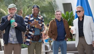 "Kevin Kline, Morgan Freeman, Robert De Niro and Michael Douglas star as the ""Flatbush Four"" retirees hitting the party scene in the heartwarming film ""Last Vegas."" (CBS Films via Associated Press)"