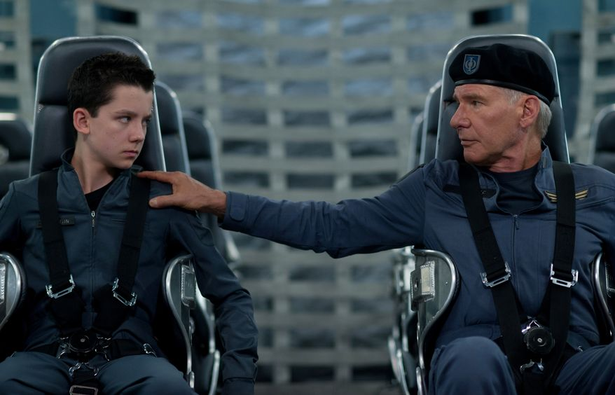 """Asa Butterfield, left, and Harrison Ford in a scene from """"Ender's Game."""" (AP Photo/Summit Entertainment, Richard Foreman)"""