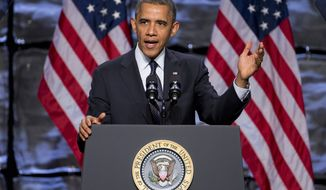 President Obama speaks at the SelectUSA Investment Summit on Thursday, Oct. 31, 2013, in Washington. (AP Photo/Evan Vucci)