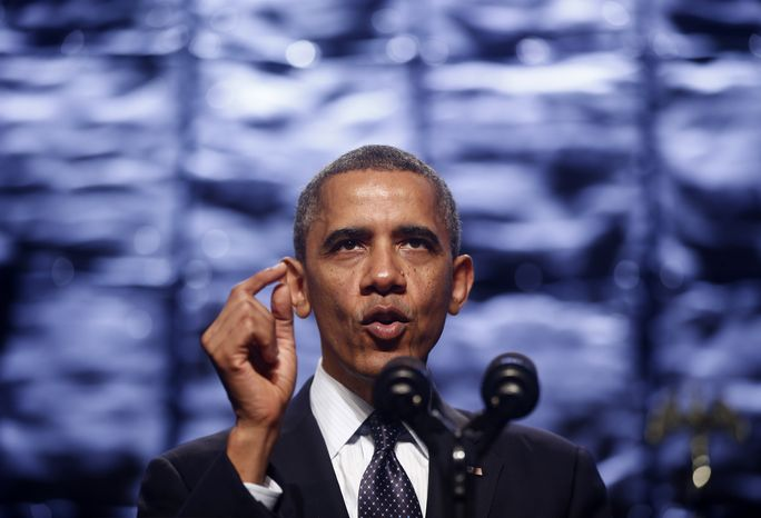 ** FILE ** President Obama speaks at the SelectUSA Investment Summit in Washington, Thursday, Oct. 31, 2013. (AP Photo/Charles Dharapak)