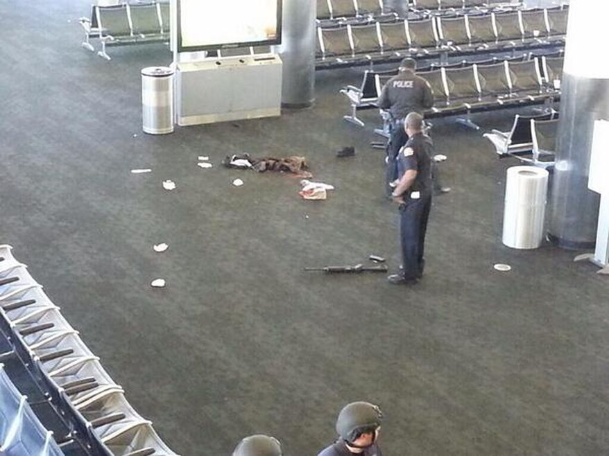 Photo from twitter of the crime scene after shoot out at LAX.