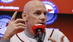 Matt Williams addresses the media after he is introduced as the new manager of the Washington Nationals baseball team during a news conference at Nationals Park, Friday, Nov. 1, 2013, in Washington. (AP Photo/Alex Brandon)