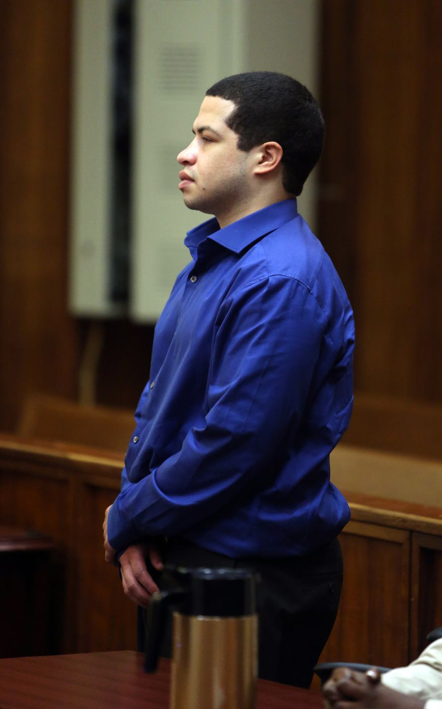 Eric Rivera Jr. appears in the courtroom on Friday, Nov. 1, 2013, in Miami. A South Florida jury resumed deliberations in Rivera's case Friday. Rivera has been charged in the fatal shooting of Washington Redskins star Sean Taylor during an ill-fated 2007 burglary. (AP Photo/The Miami Herald, Walter Michot)  MAGS OUT