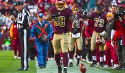 Washington Redskins wide receiver Pierre Garcon (88) shows his emotion after completing a 38 yard pass in the third quarter as the Washington Redskins play the San Diego Chargers at FedExField, Landover, Md., Sunday, November 3, 2013. (Andrew Harnik/The Washington Times)