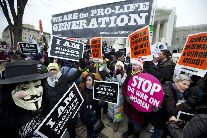 FILE - In this Jan. 25, 2013 file photo, pro-abortion rights activists, rally face-to-face against anti-abortion demonstrators as both march in front of the U.S. Supreme Court in Washington in a demonstration that coincides with the 40th anniversary of the Roe vs. Wade decision that legalized abortion. The Supreme Court declines for now to jump back into the abortion wars, but a variety of new abortion restrictions in several states could eventually win high court review. (AP Photo/Manuel Balce Ceneta, File)