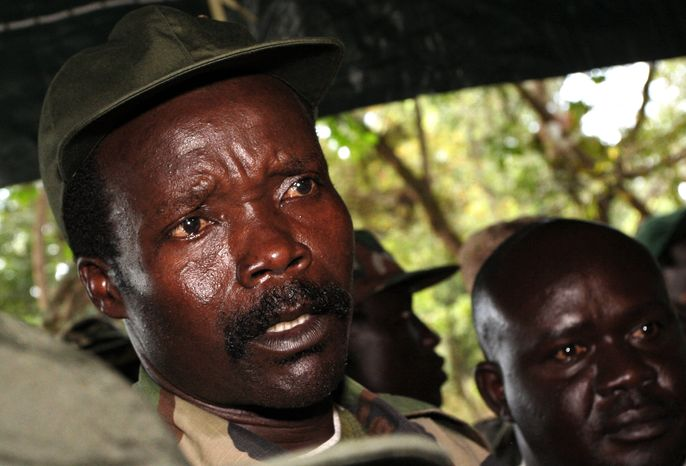 FILE - In this Nov. 12, 2006 file photo, the leader of the Lord's Resistance Army Joseph Kony answers journalists' questions following a meeting with UN humanitarian chief Jan Egeland at Ri-Kwangba in southern Sudan. Adventurer Robert Young Pelton, whose crowd-funding scheme has already drawn criticism from a pair of Africa experts, is the latest to join a line of private individuals and aid groups who are trying to corner Joseph Kony and the members of his Lord's Resistance Army. (AP Photo/Stuart Price, File, Pool)