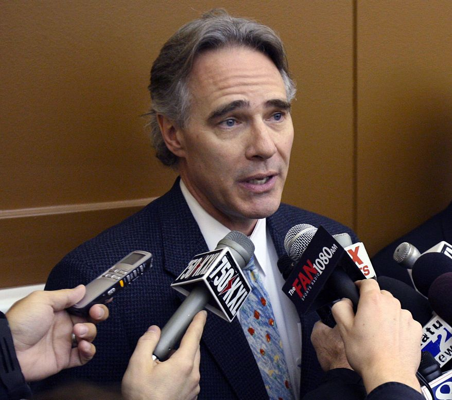 FILE - In this March 1, 2007, file photo, Portland Trail Blazers president and general manager Steve Patterson announces his departure from the team during a news conference at the basketball team's practice facility in Tualatin, Ore. Arizona State athletic director Steve Patterson has accepted the athletic director's job at the University of Texas, The Associated Press has learned. Patterson accepted an offer after interviewing for the job over the weekend, according to the person with knowledge of the offer who spoke on condition of anonymity because no formal announcement had been made. (AP Photo/The Oregonian, Doug Beghtel)