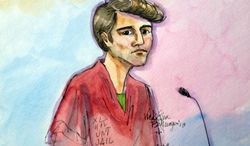 **FILE** This artist rendering shows Ross William Ulbricht appearing in Federal Court in San Francisco on Friday, Oct. 4, 2013. A federal judge in San Francisco has postponed the bail hearing for Ulbricht who is being charged as the mastermind of Silk Road, an encrypted website where users could shop for drugs like heroin and LSD anonymously. (Associated Press)