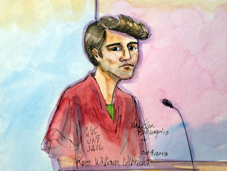 This artist rendering shows Ross William Ulbricht appearing in Federal Court in San Francisco on Friday, Oct. 4, 2013. (Associated Press)