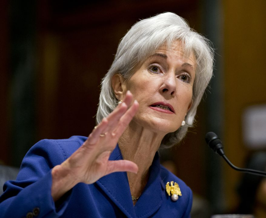 ** FILE ** Health and Human Services Secretary Kathleen Sebelius testifies on Capitol Hill in Washington, Wednesday, Nov. 6, 2013, before the Senate Finance Committee hearing on the difficulties plaguing the implementation of the Affordable Care Act. (AP Photo/J. Scott Applewhite)