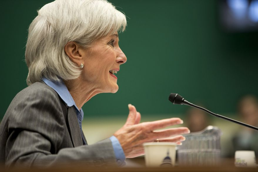 FILE - In this Oct. 30, 2013 file photo, Health and Human Services Secretary Kathleen Sebelius testifies on Capitol Hill in Washington. Sebelius is returning to Capitol Hill for a fresh interrogation on the health care law, this time from senators with growing concerns about President Barack Obama's crowning legislative achievement. Sebelius was due to face questions Wednesday from the Senate Finance Committee.  (AP Photo/ Evan Vucci, File)