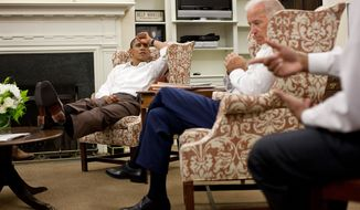 President Barack Obama and Vice President Joe Biden are briefed by Rob Nabors, Assistant to the President for Legislative Affairs, Saturday, July 30, 2011. (Official White House Photo by Pete Souza)