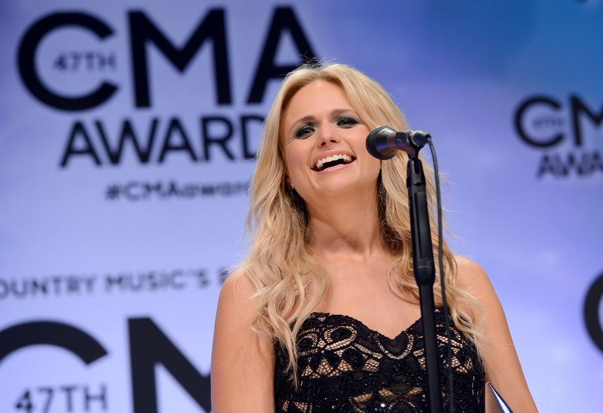 Miranda Lambert  speaks backstage after winning the award for female vocalist of the year at the 47th annual CMA Awards at Bridgestone Arena on Wednesday, Nov. 6, 2013, in Nashville, Tenn. (Photo by Evan Agostini/Invision/AP)