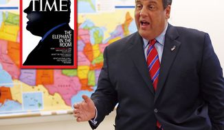 "Time magazine cover featuring New Jersey Governor Chris Christie. ""The Elephant in the Room.'"
