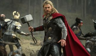 "Chris Hemsworth in a scene from ""Thor: The Dark World."" (AP Photo/Walt Disney Studios/Marvel, Jay Maidment)"