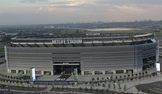 FILE - This July 3, 2013, file photo, is an aerial view of MetLife Stadium in East Rutherford, N.J. Feb. 2, 2014, is a day that will be remembered forever in not only the NFL, but in New York and New Jersey, as the Super Bowl will be played outdoors in a northern market for the first time ever. (AP Photo/Julio Cortez, File)
