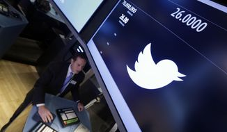 Trading specialist Glenn Carell, who is handling Twitter's initial public offering, works at his post on the floor of the New York Stock Exchange on Thursday, Nov. 7, 2013, in New York. (AP Photo/Richard Drew)