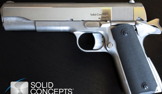 Three-dimensional printed metal gun by Solid Concepts (Screen grab from http://blog.solidconcepts.com/industry-highlights/worlds-first-3d-printed-metal-gun/)