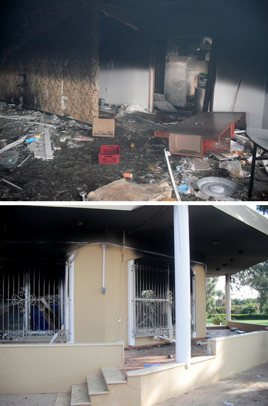 Remains of the US Embassy canteen the morning after the Sept. 11, 2012 Benghazi attack. (Photos by Morgan Jones)
