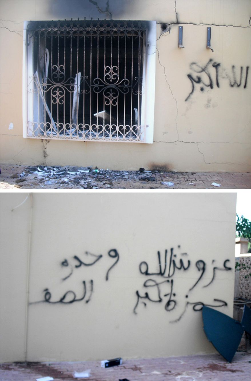 Graffitti on the walls of the US Embassy in Benghazi.