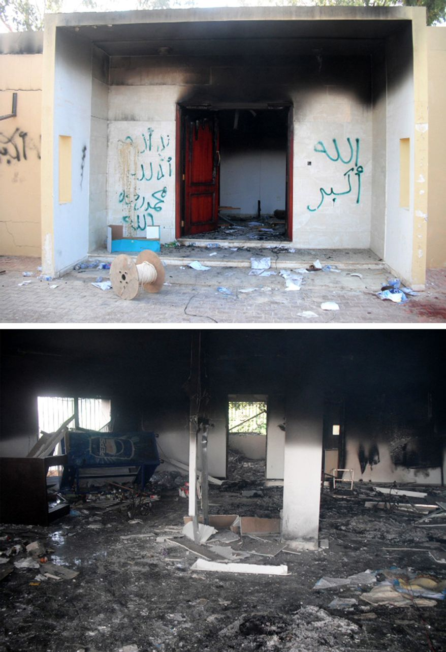 Graffitti left by attackers at the burned out US Embassy in Benghazi (top). Burned and looted remains of the Tactical Operations Center.