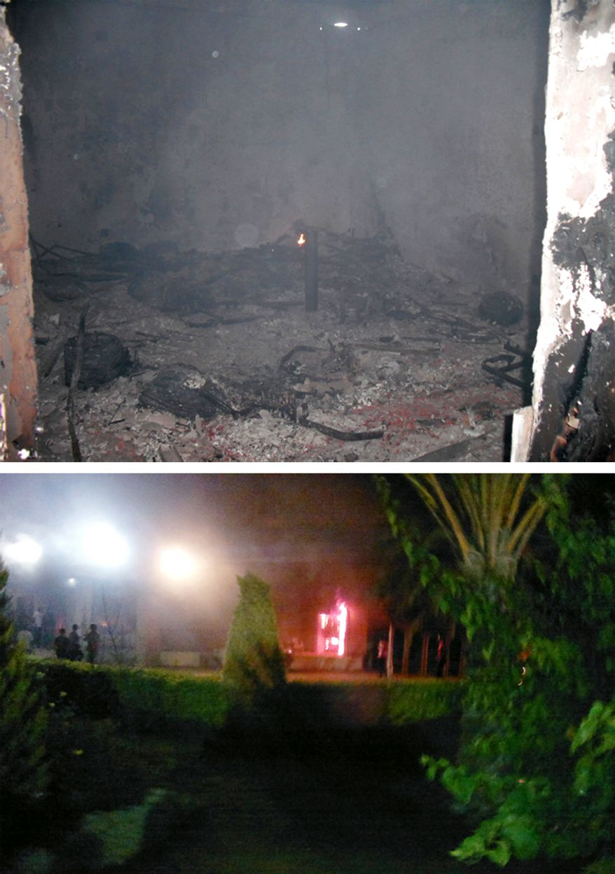 The Tactical Operations Center's political officers room on the morning after the Benghazi attack was still burning (top). (Photo by Morgan Jones) US Embassy guard room on fire the night of the Sept. 11, 2012 attack.