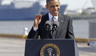 President Barack Obama speaks about the economy, Friday, Nov. 8, 2013, at the Port of New Orleans. Obama traveled to the Gulf Coast region to make a case that more exports equal more jobs. After New Orleans he will go to Miami area for three Democratic fundraisers.(AP Photo/Gerald Herbert)