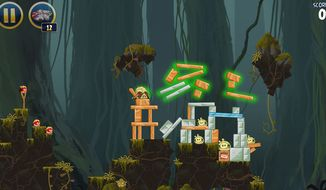 Lightsaber wielding fowl visit Yoda's Dagobah home in the video game Angry Birds Star Wars.