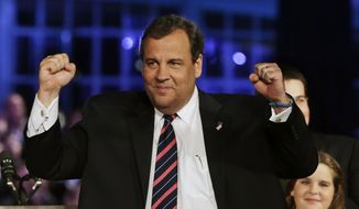 ** FILE ** In this Nov. 5, 2013, file photo, Republican New Jersey Gov. Chris Christie celebrates his election victory in Asbury Park, N.J., after defeating Democratic challenger Barbara Buono. (AP Photo/Mel Evans)
