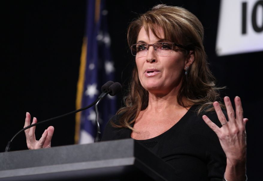 ** FILE ** Former Alaska Governor Sarah Palin speaks during the Iowa Faith and Freedom Coalition's Friends of the Family Banquet in Des Moines Iowa Nov. 9, 2013. (AP Photo by Justin Hayworth)