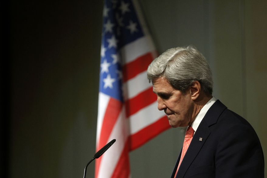 "Secretary of State John F. Kerry pauses during a press conference at the end of the Iranian nuclear talks in Geneva on Sunday, Nov. 10, 2013. The talks failed to reach an agreement, but Mr. Kerry said Tehran and six world powers had made ""significant progress."" (AP Photo/Jason Reed, Pool)"